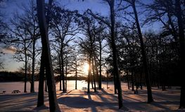 Winter Sun Set Stock Photography