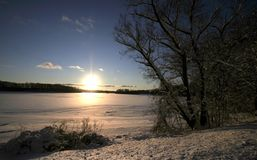 Winter Sun Set Stock Photography