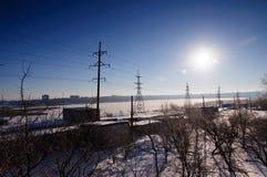 Winter sun in the sky stock photo