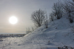 The winter sun and the snow-covered hill with trees. Stock Photos