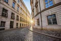 Winter sun between two buildings in Vienna Royalty Free Stock Photos
