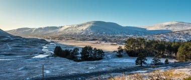 Winter Sun und Schnee in Schottland Stockfotografie