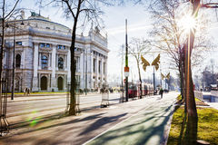 Winter sun view of Vienna Theater Royalty Free Stock Photos