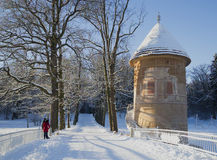 Winter sunny day at old tower. Pavlovsk Park Royalty Free Stock Images