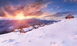Winter sunrise. In the mountains Stock Photos