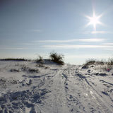 Winter Sunrise. Snowy winter landscape with clear blue sky and sun Stock Photography