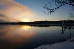 Sunset in winter in Norway stock photography