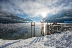 Winter sunrise at beautiful lake Achensee in Tyrol, Austria royalty free stock image