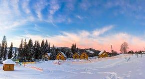 Winter sunrise in Carpathians. Farm Quiet, Chernivtsi region Stock Images