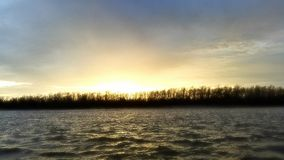 Winter sunrise. Cold morning on the ohio bright sunrise royalty free stock photography