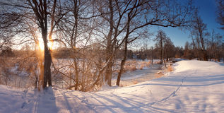Winter sunrise. Cold winter morning. Winter river. Winter sunrise in Belarus. Cold winter morning. Winter river Stock Images