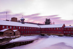 Winter Sunrise at Collinsville Mill stock image