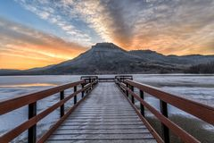 Winter Sunrise at Flatiron Reservoir located in Loveland, Colorado in Larimer County. In Northern Colorado royalty free stock images