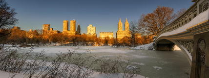 Winter Sunrise on Frozen Central Park Lake, New York City Stock Photography