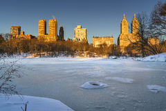 Winter Sunrise on Frozen Central Park Lake, New York City Stock Photos
