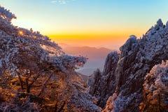 Winter sunrise landscape in Huangshan National park. Stock Images