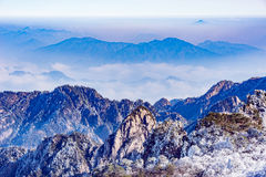Winter sunrise landscape in Huangshan National park. Royalty Free Stock Photos