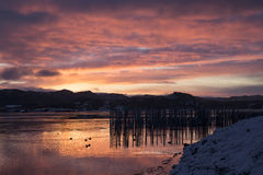 Winter sunrise landscape, Norway Stock Photography