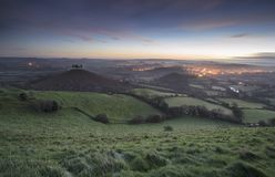 Beautiful Winter sunrise landscape over Colmer`s Hill in Somerse. Winter sunrise landscape over Colmer`s Hill in Somerset England stock photography