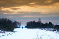 Winter sunrise landscape over snow covered path Royalty Free Stock Photos