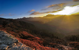 Winter Sunrise at Lungthang, Sikkim Stock Image