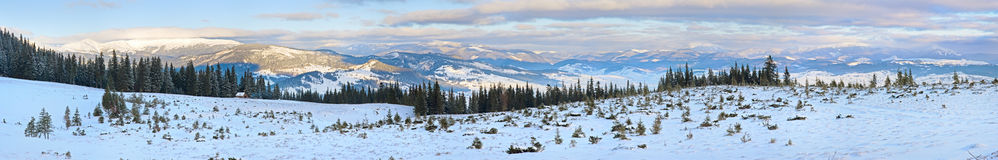 Winter sunrise mountain panorama landscape Royalty Free Stock Images