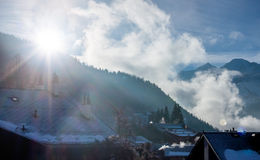Winter sunrise in mountain village Royalty Free Stock Image