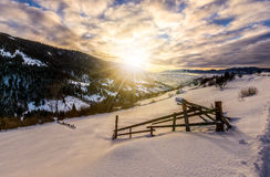 Winter sunrise in mountainous rural area Royalty Free Stock Photography