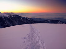 Majestic sunset in winter mountain landscape Royalty Free Stock Photos