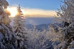 Winter sunrise in mountains. Winter sunrise cast an ethereal glow that is not to be missed. View in Polish Beskids mountains stock photo