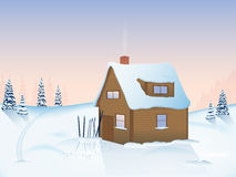 Winter sunrise in the mountains vector illustration