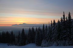 Winter sunrise in mountains Royalty Free Stock Photo