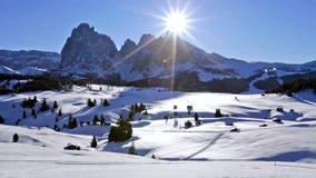 Winter sunrise over Alpe di Siusi, Dolomites, Italy stock video footage
