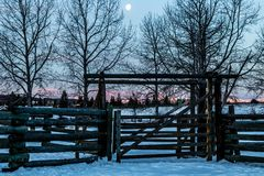 Winter sunrise over Cochrane, Cochrane, Alberta, Canada. The sun peaks through the coral as the moon lingers over head Stock Image