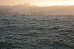 Rural winter landscape, on a cold, frosty morning royalty free stock photography