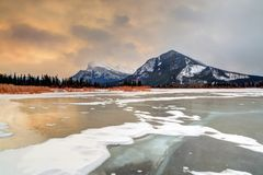 Winter Sunrise Over Frozen Vermilion Lakes in Banff National Par Royalty Free Stock Image