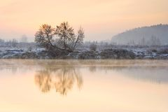 Winter sunrise over the river Stock Images
