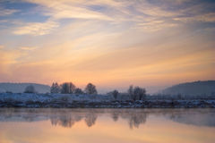 Winter sunrise over the river Royalty Free Stock Photos