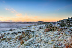 Winter Sunrise over Rugged Moorland Stock Photography