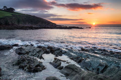 Winter Sunrise over Talland Bay Stock Photo