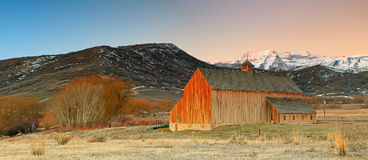 Winter sunrise panorama with an old barn. Royalty Free Stock Image