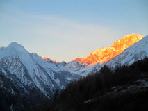 Winter sunrise panoramic view mont blanc Royalty Free Stock Image