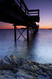 Winter sunrise on a pier Royalty Free Stock Images
