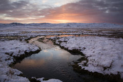 Winter sunrise. In Reykjanes, Iceland Royalty Free Stock Photography