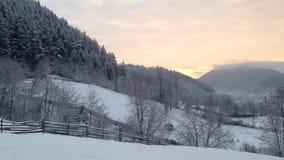Winter sunrise stock footage