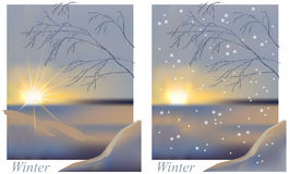 Winter sunrise snowing Royalty Free Stock Images