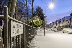 Winter sunrise in snowy suburb in London. UK Royalty Free Stock Photography