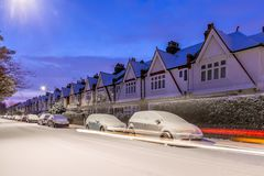 Winter sunrise in snowy suburb in London. UK Royalty Free Stock Image
