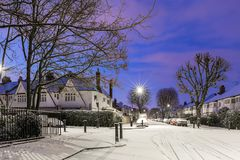 Winter sunrise in snowy suburb in London. UK Royalty Free Stock Photos