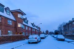 Winter sunrise in snowy suburb in London. UK Stock Photos